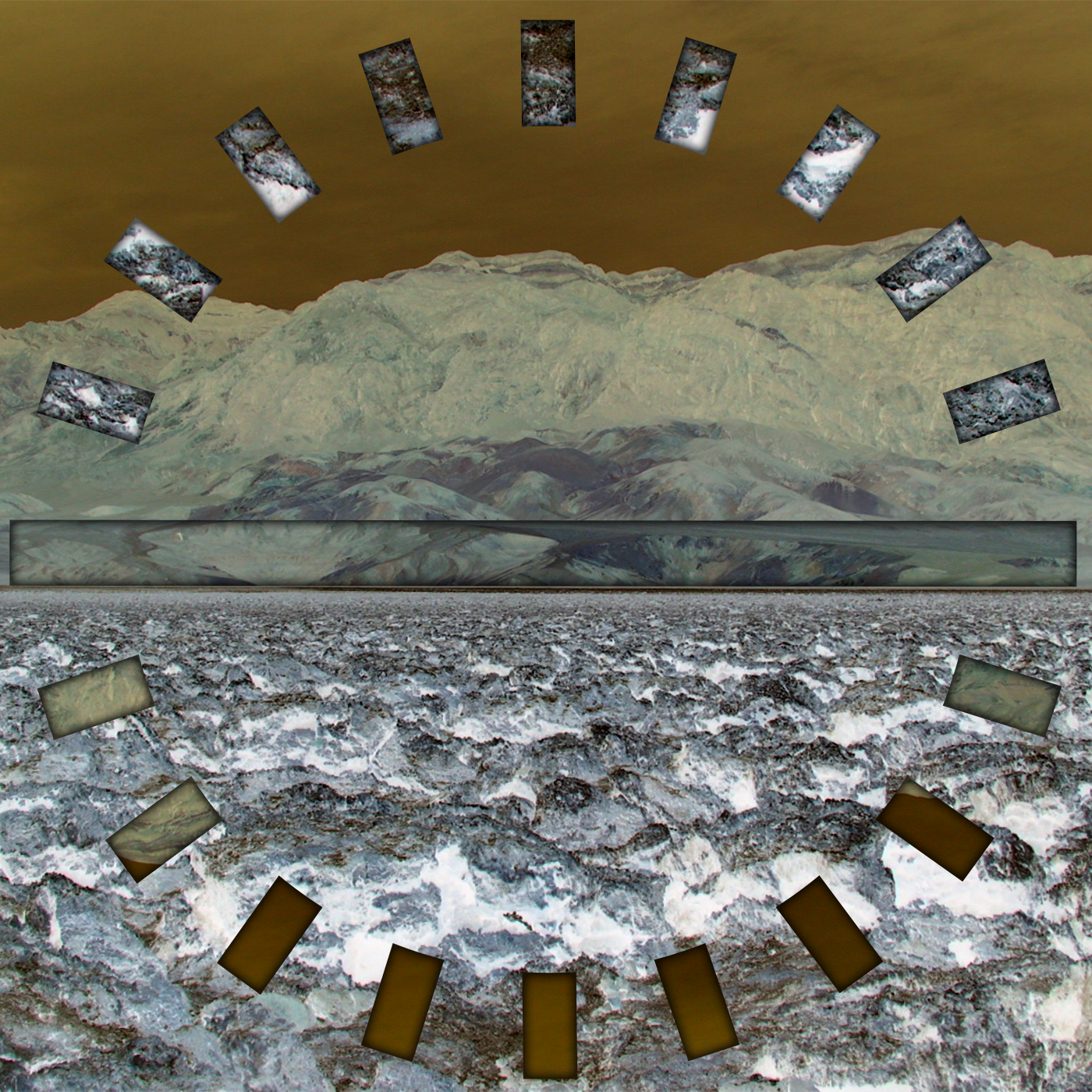 A series of bars arranged in a circle, with a single large horizontal bar through it; a treated photograph of a desolate landscape in the background.